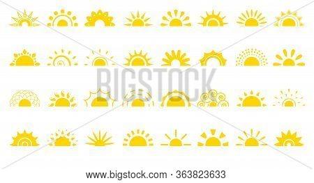 Set Of Sun Flat Cartoon Icon. Simple Decorative Elements For Logotype Sunrise, Sunset. Graphic Symbo