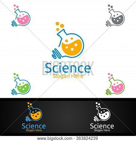Science And Research Lab Logo For Microbiology, Biotechnology, Chemistry, Or Education Design Concep