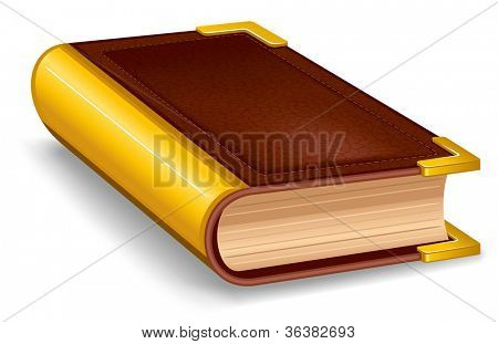 Closed old book in leather cover and with golden decoration.