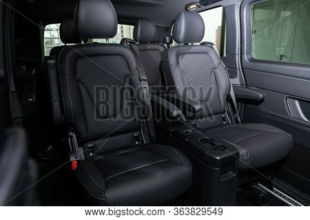 Novosibirsk/ Russia - April 28 2020:  Mercedes-benz V-class,  Rear Seat For Passengers In Black Leat
