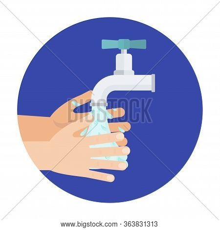 Hand Hygiene. Hand Washing With Soap Suds. Sanitizer Bottles, Washing Gel, Spray And Liquid Soap. An