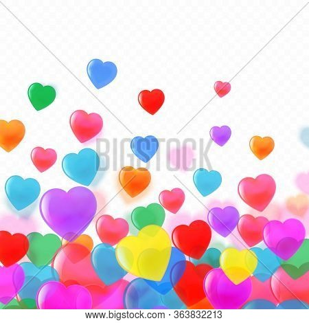 Beautiful Colourful Confetti Hearts Background, Poster, Greeting Card Template. Premium Vector.