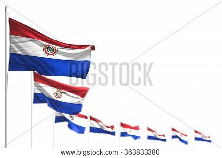 Cute Celebration Flag 3d Illustration  - Paraguay Isolated Flags Placed Diagonal, Photo With Bokeh A