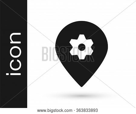 Grey Location With Car Service Icon Isolated On White Background. Auto Mechanic Service. Repair Serv