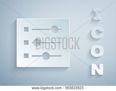 Paper Cut Car Settings Icon Isolated On Grey Background. Auto Mechanic Service. Repair Service Auto