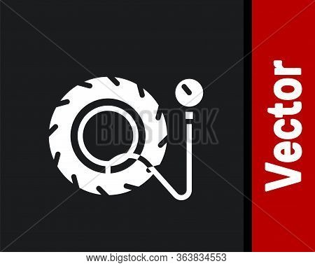 White Tire Pressure Gauge Icon Isolated On Black Background. Checking Tire Pressure. Gauge, Manomete