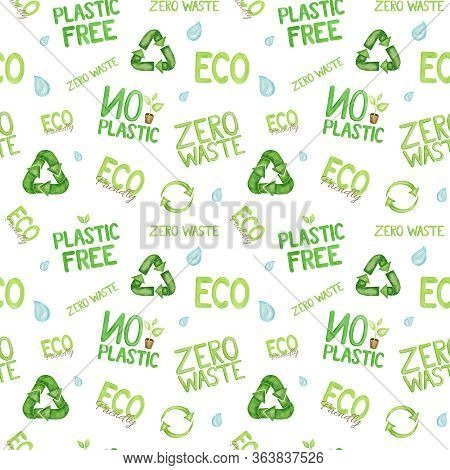 Plastic Free Green Zero Waste Icon Seamless Pattern. Watercolor Hand Drawn Illustration On White Bac