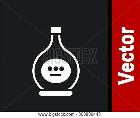 White Bottle Of Cognac Or Brandy Icon Isolated On Black Background. Vector Illustration
