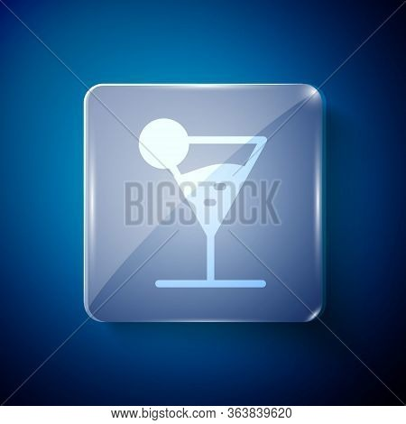 White Martini Glass Icon Isolated On Blue Background. Cocktail Icon. Wine Glass Icon. Square Glass P