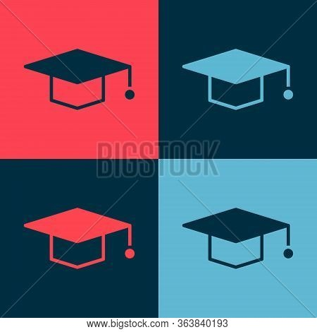 Pop Art Graduation Cap Icon Isolated On Color Background. Graduation Hat With Tassel Icon. Vector Il