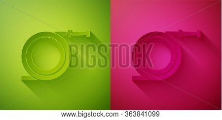 Paper Cut Garden Hose Or Fire Hose Icon Isolated On Green And Pink Background. Spray Gun Icon. Water