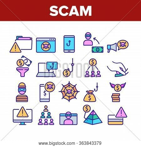 Scam Finance Criminal Collection Icons Set Vector. Internet And Mobile Phone Scam, Computer Screen A