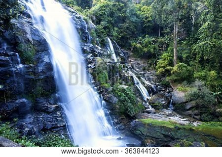Beautiful Waterfall In Doi Inthanon The Tropical Forest, Steep Mountain Adventure In The Rainforest,