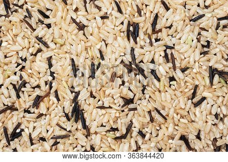 Wild Raw Rice Close Up. Texture Raw Grits. Background Of Food Carbohydrates.