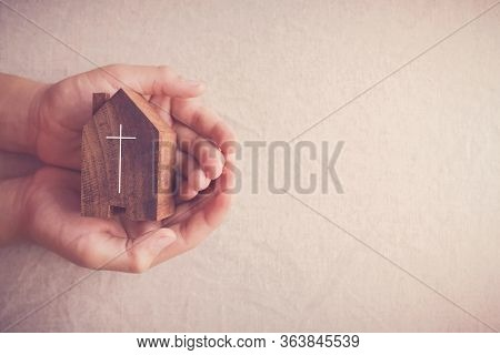 Child Hands Holding Church, Serving God, Praying Hands, Home Church Service During Social Distancing