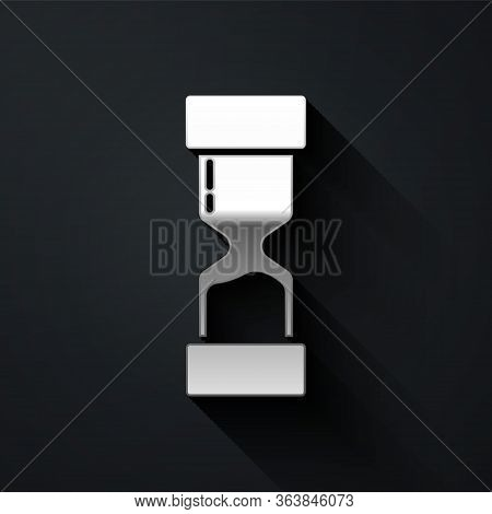 Silver Old Hourglass With Flowing Sand Icon Isolated On Black Background. Sand Clock Sign. Business