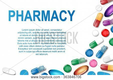 Medical Banner With Pills And Capsule Background. Pharmacy Poster With Painkiller Capsules, Vitamins