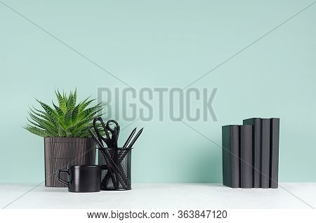 Spring Interior - Workplace With Black Stationery, Books, Green House Plant, Coffee Cup, Aloe Plant