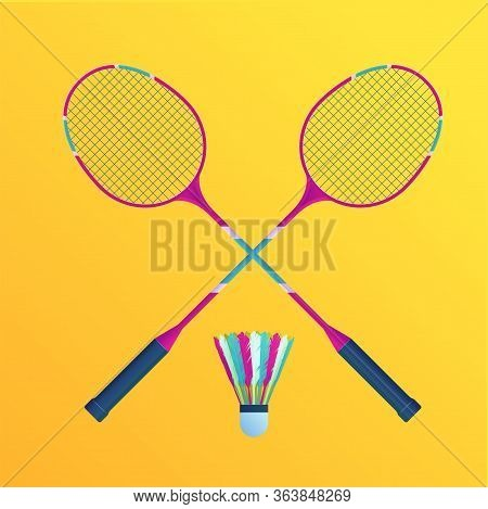 Badminton Rackets With Shuttlecock Set. Sports Equipment For Badminton Isolated Vector Illustration.