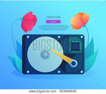 Hard Disk Drive Web Banner In Cartoon Style. Internal Hard Drive Mechanism With Flower Decoration. C