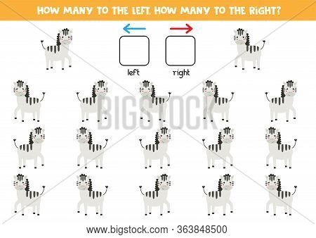 How Many Zebras Go To The Left And How Many To The Right. Educational Game For Kids. Spatial Orienta
