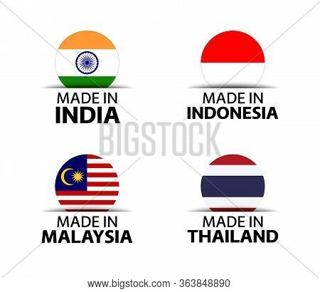 Set Of Four Indian, Indonesian, Malaysian And Thai Stickers. Made In India, Made In Indonesia, Made