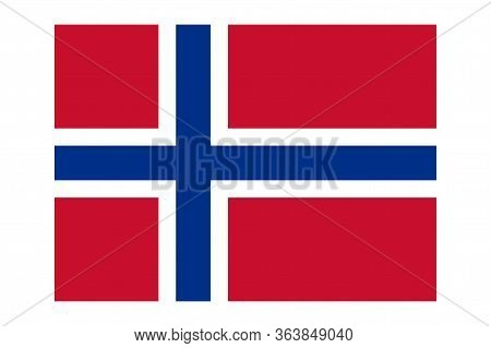 Flag Of Norway. Simple Vector Illustration Of Norwegian Flag Isolated On White Background