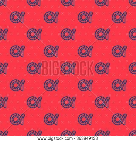 Blue Line Tire Pressure Gauge Icon Isolated Seamless Pattern On Red Background. Checking Tire Pressu