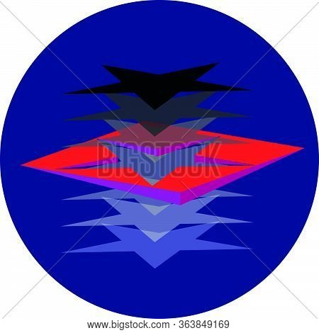Star Portal In A Dark Blue Circle A Black Star Goes Through A Red Rectangle And Brightens