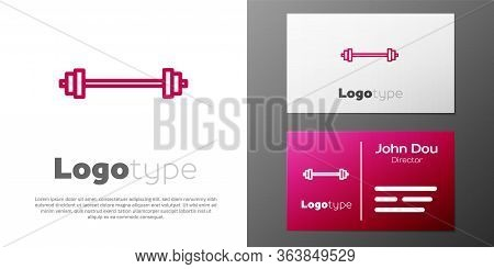 Logotype Line Barbell Icon Isolated On White Background. Muscle Lifting Icon, Fitness Barbell, Gym,