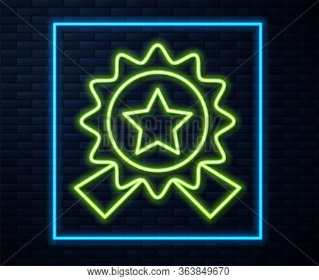 Glowing Neon Line Medal With Star Icon Isolated On Brick Wall Background. Winner Achievement Sign. A