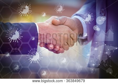Business Leaders Handshaking Virtually. Virtual Virology Graphics. Business People In Office Suits S
