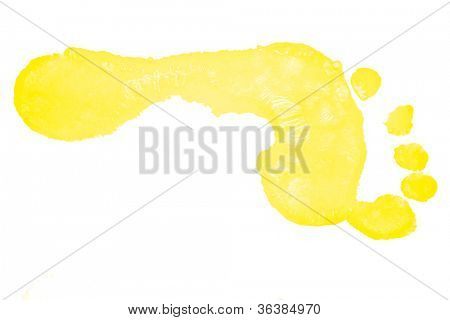 One horizontal yellow foot print against a white background