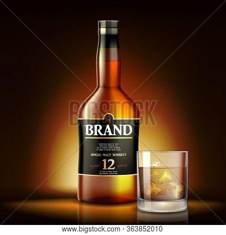 Single Malt Whiskey Drink Ads Design. Realistic Glass Whiskey Bottle Label On Shiny Gold Background.
