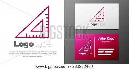 Logotype Line Triangular Ruler Icon Isolated On White Background. Straightedge Symbol. Geometric Sym
