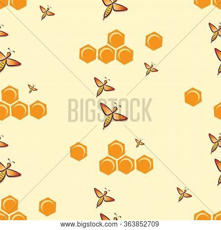 Swarm Bees. Honeycombs. Bee Pattern, Background. Flying Bee, Honeycombs.