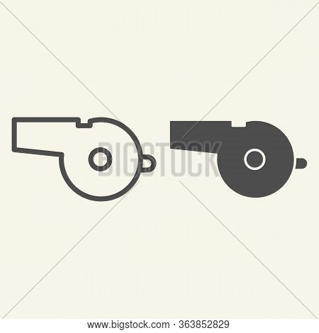 Whistle Line And Solid Icon. Sports Whistle Outline Style Pictogram On Beige Background. Blowing For