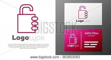 Logotype Line Safe Combination Lock Icon Isolated On White Background. Combination Padlock. Security