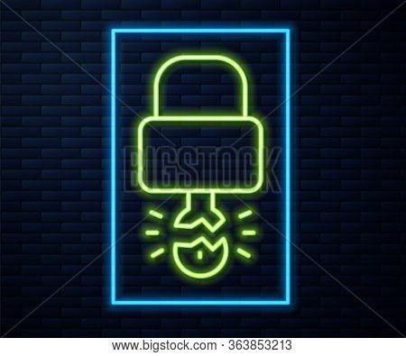 Glowing Neon Line Key Broke Inside Of Padlock Icon Isolated On Brick Wall Background. Padlock Sign.