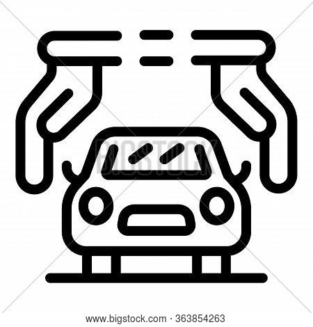 Advertising Car Agent Icon. Outline Advertising Car Agent Vector Icon For Web Design Isolated On Whi