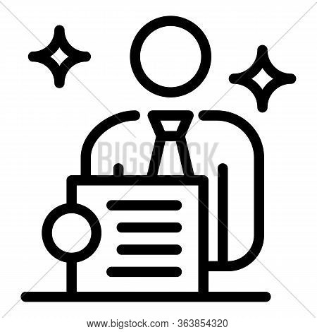 New Advertising Agent Icon. Outline New Advertising Agent Vector Icon For Web Design Isolated On Whi