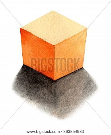 Orange Cube - Light From The Back, Basic Geometric Shapes With Dramatic Light And Shadow In Watercol