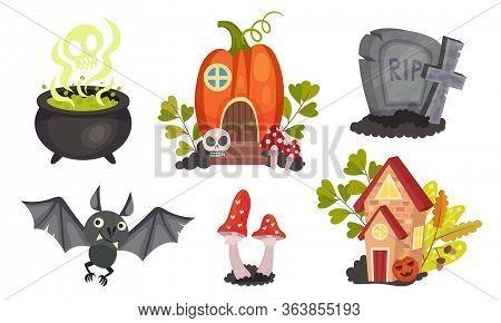 Sinister Halloween Holiday Symbols With Cauldron And Gravestone Vector Set