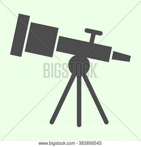 Telescope Solid Icon. Astronomy Telescopes Observe Tool Glyph Style Pictogram On White Background. U