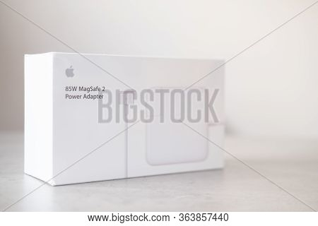 Samut Prakan, Thailand - May 11 2020 : 85w Magsafe 2 Apple Power Adapter In Box For Charger Macbook