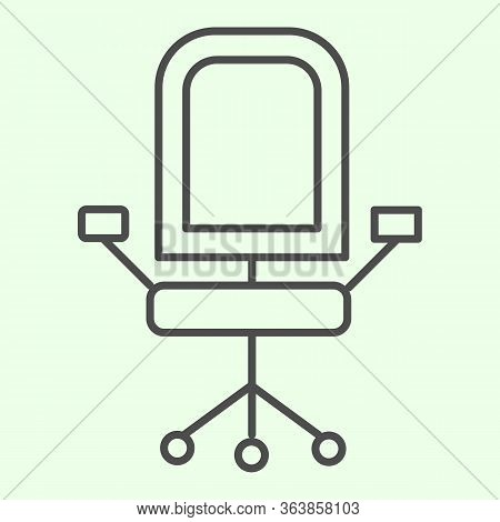 Office Chair Thin Line Icon. Armchair With Wheels Of Comfortable Business Furniture Outline Style Pi