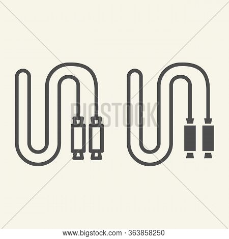 Jump Rope Line And Solid Icon. Skip Rope Outline Style Pictogram On Beige Background. Fitness Play O