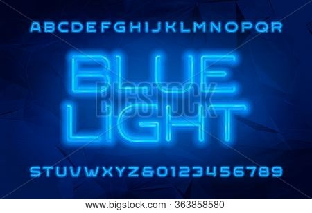 Blue Light Alphabet Font. Neon Color Letters And Numbers. Polygonal Background. Stock Vector Typescr