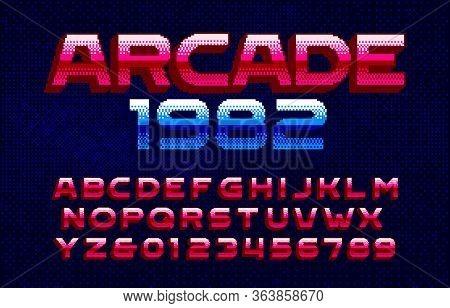 Arcade 1982 Alphabet Font. Pixel Gradient Letters And Numbers. Pixel Background. 80s Arcade Video Ga