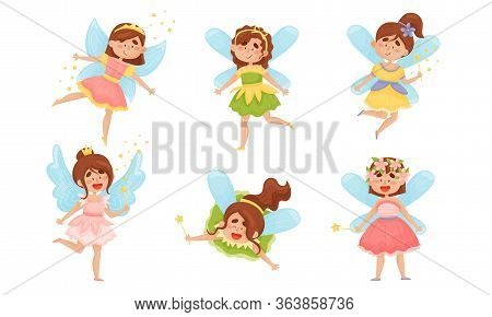 Cute Winged Fairies Or Pixies In Pretty Dresses Flying Holding Magic Wand Vector Set
